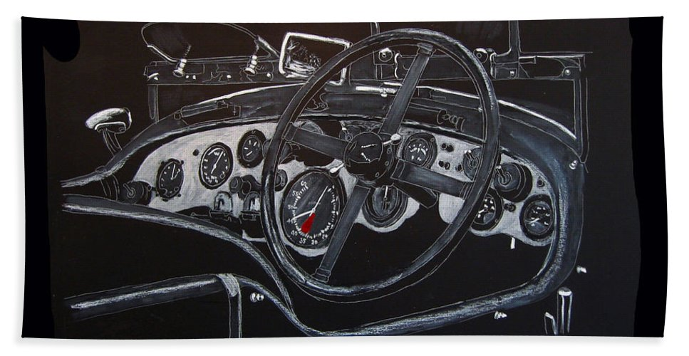 Bentley Beach Towel featuring the painting 1928 Bentley Dash by Richard Le Page