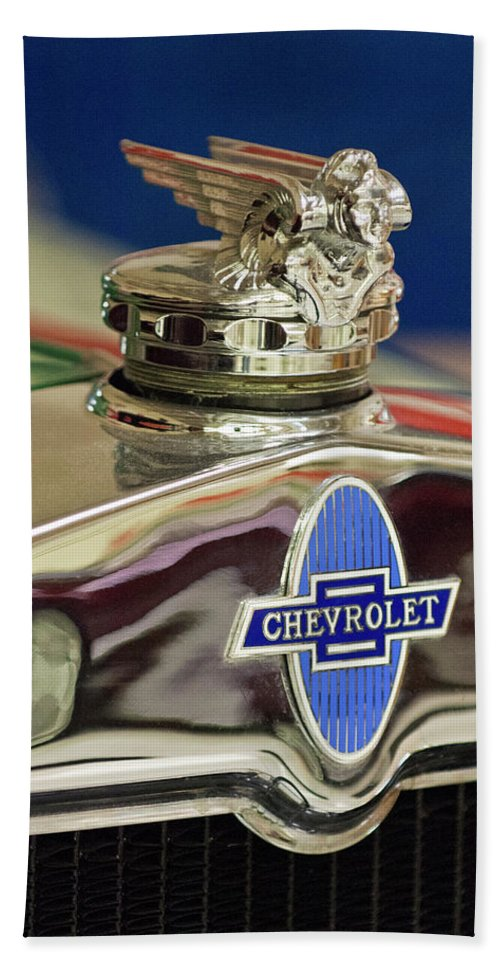 1929 Chevrolet Beach Towel featuring the photograph 1929 Chevrolet Hood Ornament by Jill Reger