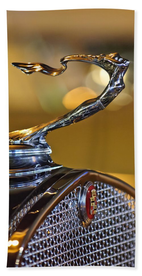 1930 Cadillac V-16 Roadster Beach Towel featuring the photograph 1930 Cadillac Roadster Hood Ornament by Jill Reger
