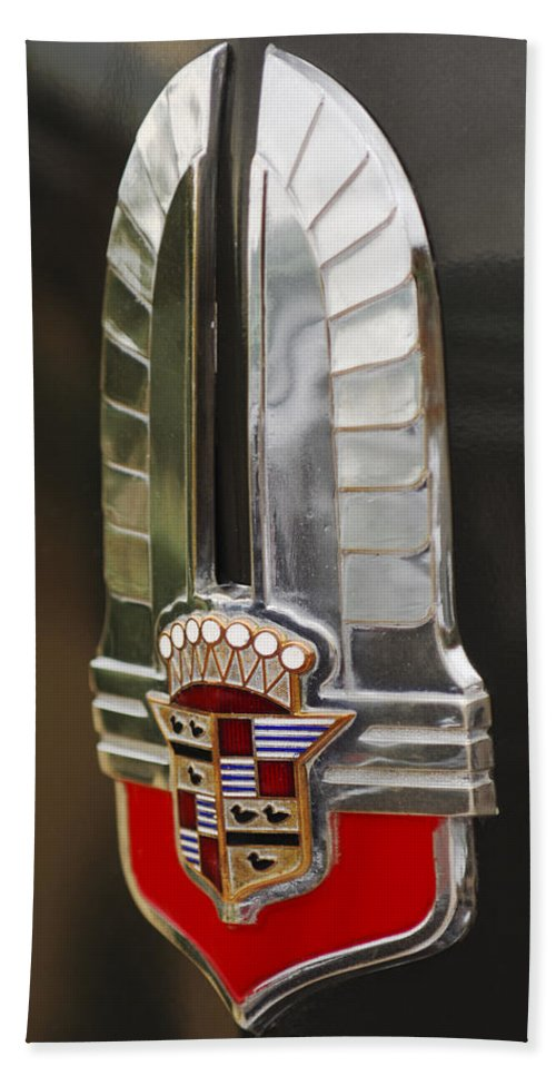1930's Cadillac Emblem Beach Towel featuring the photograph 1930's Cadillac Emblem by Jill Reger