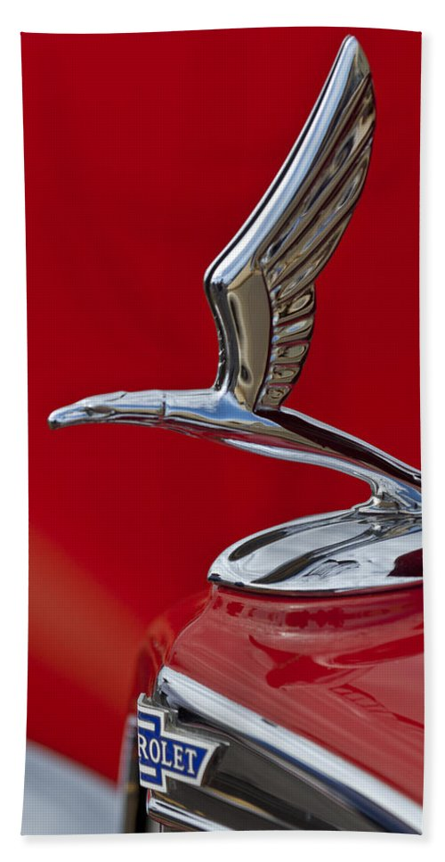 1933 Chevrolet Coupe Beach Towel featuring the photograph 1933 Chevrolet Coupe Hood Ornament 2 by Jill Reger