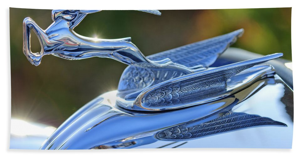 1933 Chrysler Imperial Beach Towel featuring the photograph 1933 Chrysler Imperial Hood Ornament 2 by Jill Reger