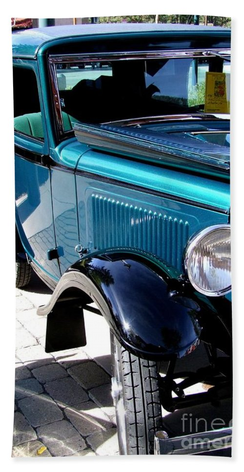 Blue Beach Towel featuring the photograph 1934 American Austin by Mary Deal