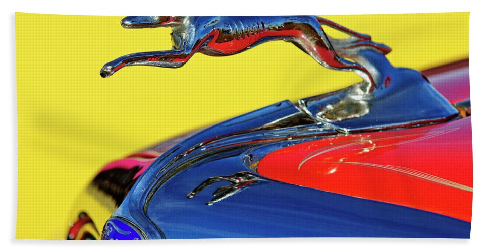 1934 Ford Beach Towel featuring the photograph 1934 Ford Hood Ornament by Jill Reger