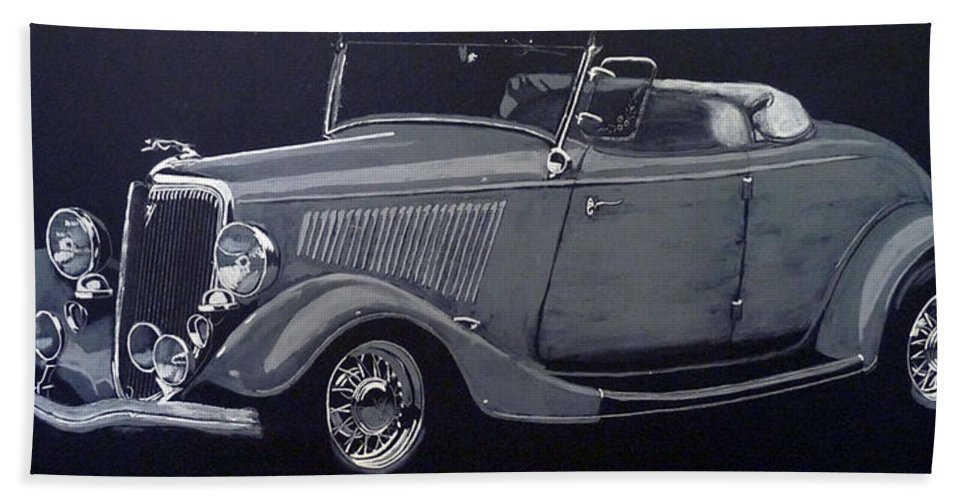 Ford Beach Towel featuring the painting 1934 Ford Roadster by Richard Le Page