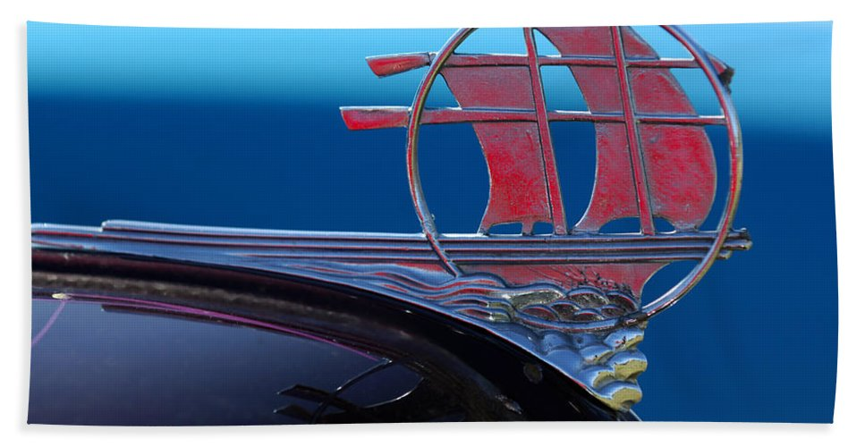 Transportation Beach Towel featuring the photograph 1934 Plymouth Hood Ornament by Jill Reger
