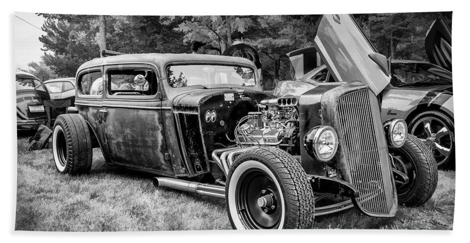18-105 Beach Sheet featuring the photograph 1935 Chevy Sedan Rat Rod by Ken Morris