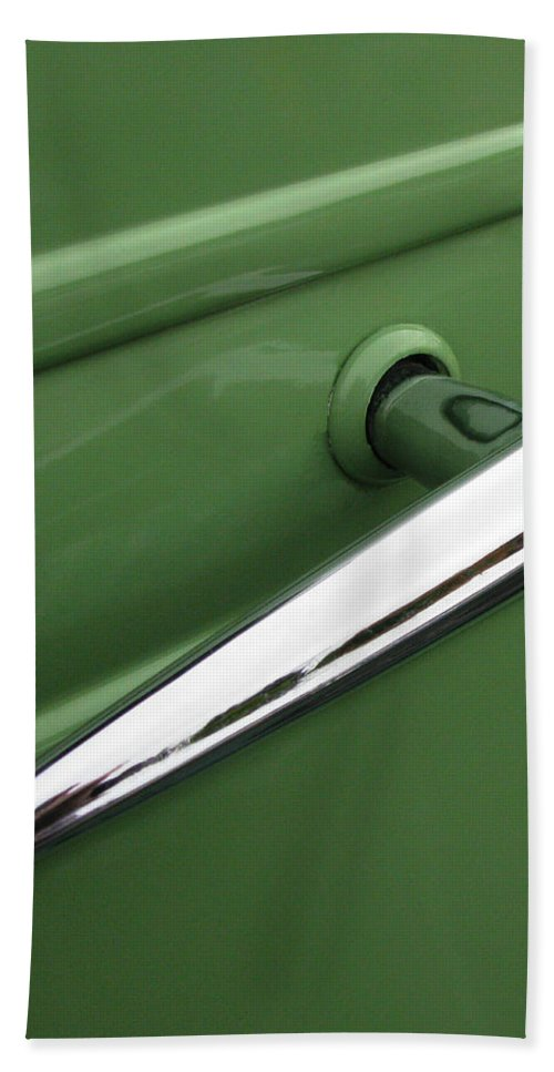 1936 Chevy Pickup Door Handle Beach Towel featuring the photograph 1936 Chevy Pickup by Peter Piatt