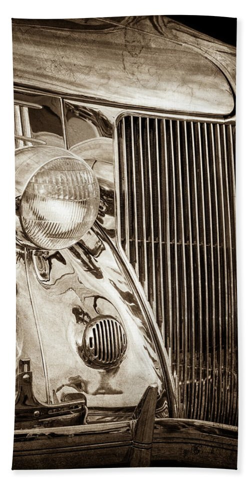 1936 Ford Stainless Steel Grille Beach Towel featuring the photograph 1936 Ford Stainless Steel Grille -0376s by Jill Reger