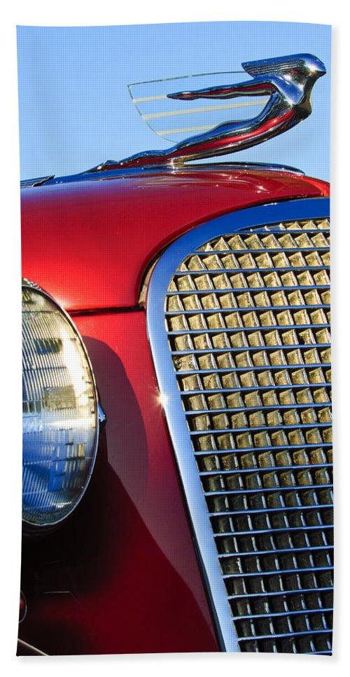 1937 Cadillac V8 Beach Towel featuring the photograph 1937 Cadillac V8 Hood Ornament 2 by Jill Reger