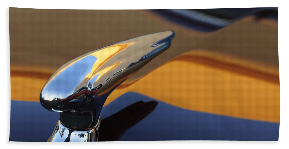 1937 Ford Beach Towel featuring the photograph 1937 Ford Hood Ornament 3 by Jill Reger