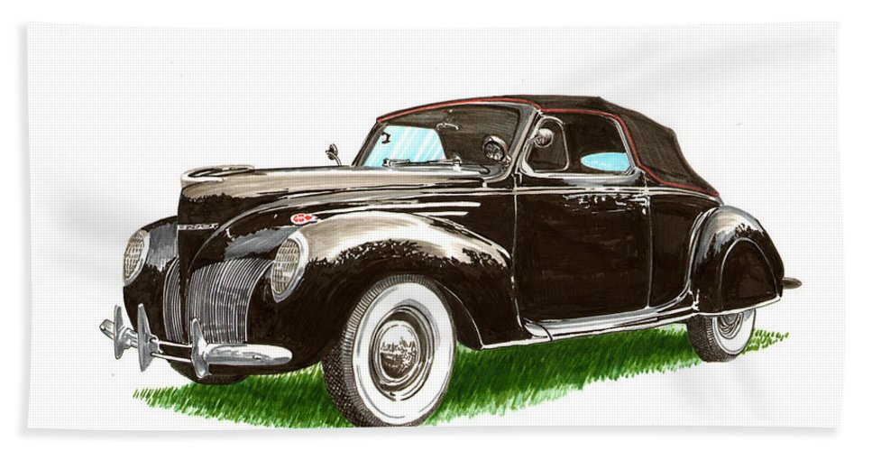 Black Convertibles Beach Towel featuring the painting 1937 Lincoln Zephyer by Jack Pumphrey