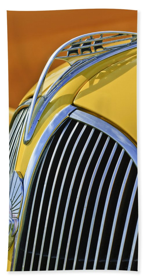 1937 Plymouth Beach Towel featuring the photograph 1937 Plymouth Hood Ornament 2 by Jill Reger