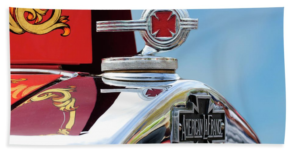 1938 American Lafrance Type 400 Fire Truck Beach Towel featuring the photograph 1938 American Lafrance Fire Truck Hood Ornament by Jill Reger