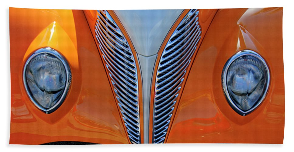 1939 Ford Beach Towel featuring the photograph 1939 Ford Hot Rod Cvt Grille by Jill Reger
