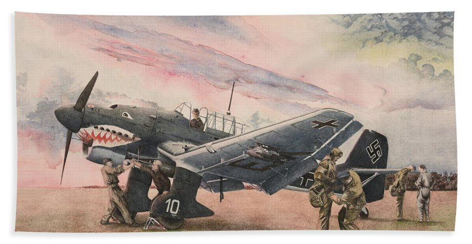 Luftwaffe Beach Towel featuring the painting 1939 by Oleg Konin