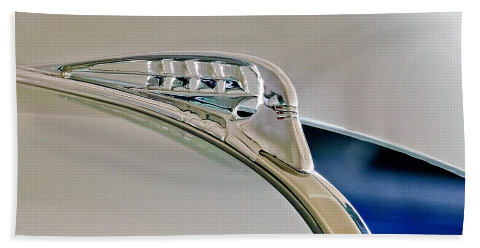 1940 Plymouth Business Coupe Beach Towel featuring the photograph 1940 Plymouth Hood Ornament 3 by Jill Reger