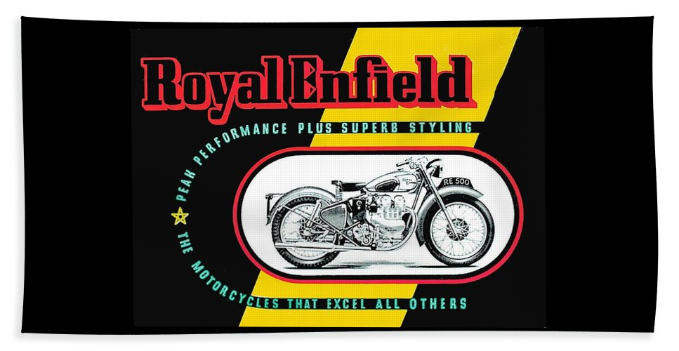 Motorcycles Beach Towel featuring the drawing 1941 Royal Enfield Motorcycle Ad by Allen Beilschmidt