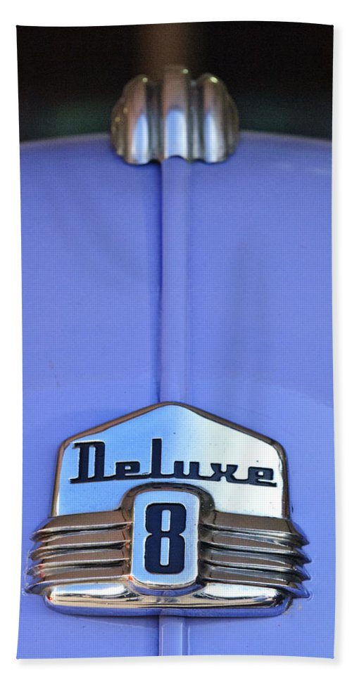 1942 Ford Super Deluxe Convertible Beach Towel featuring the photograph 1942 Ford Hood Ornament by Jill Reger