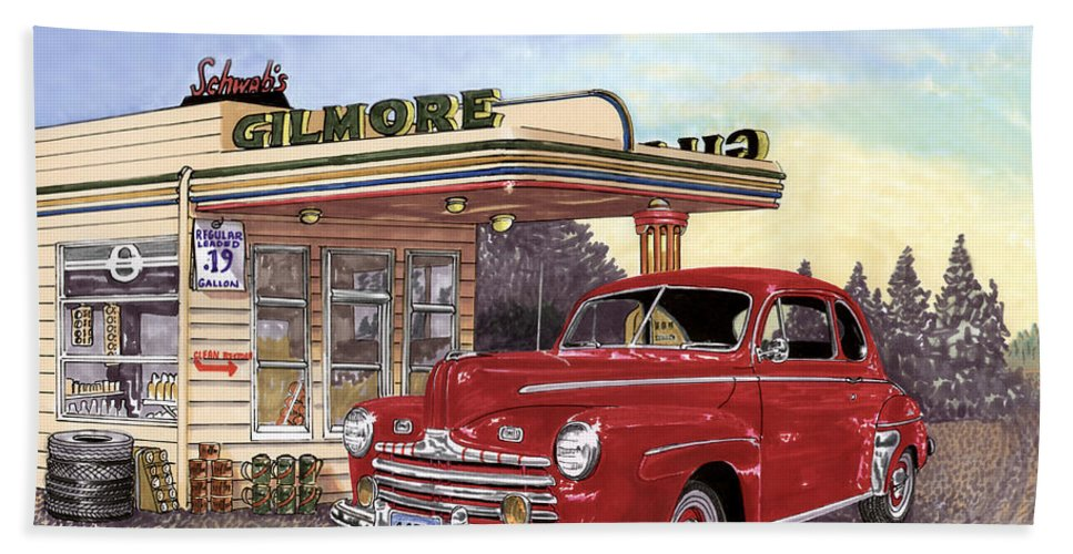 1946 Ford Deluxe Coupe Art Beach Towel featuring the painting 1946 Ford Deluxe Coupe by Jack Pumphrey