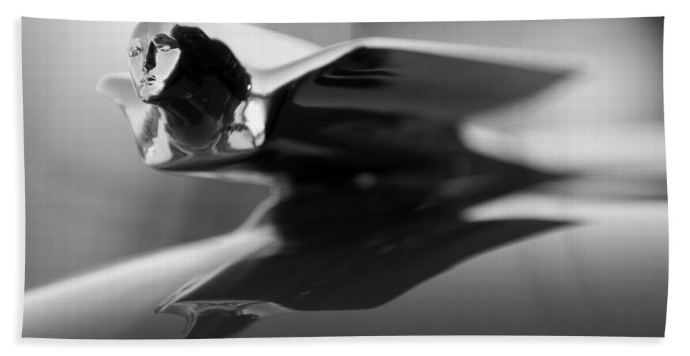 1947 Cadillac Beach Towel featuring the photograph 1947 Cadillac Hood Ornament 2 by Jill Reger