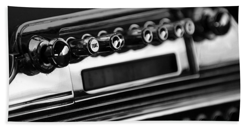 Transportation Beach Towel featuring the photograph 1947 Cadillac Radio Black And White by Jill Reger