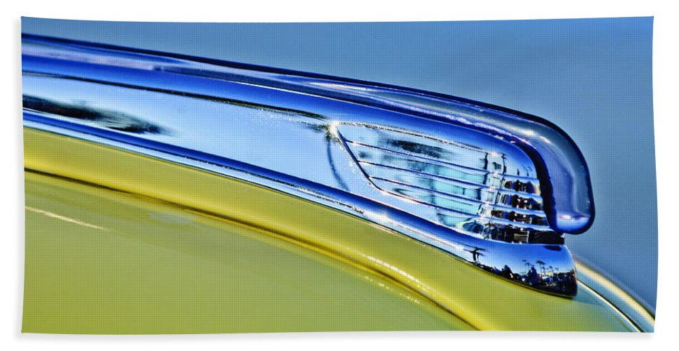 1947 Ford Super Deluxe Beach Towel featuring the photograph 1947 Ford Super Deluxe Hood Ornament 2 by Jill Reger