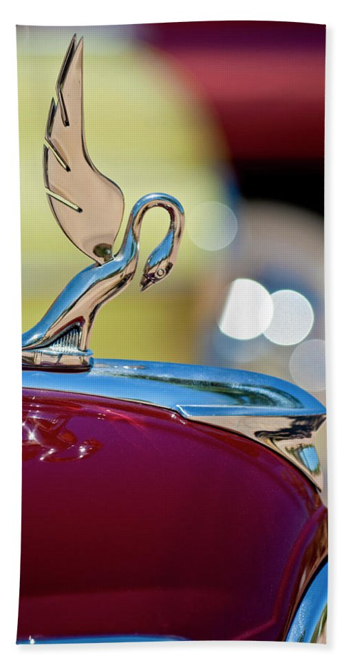 1947 Packard Coupe Beach Towel featuring the photograph 1947 Packard Coupe Hood Ornament by Jill Reger