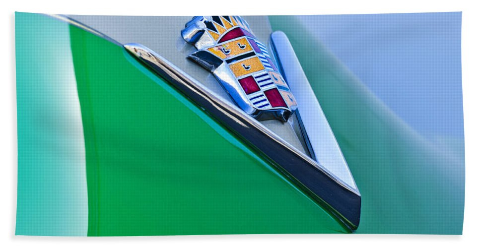 1948 Cadillac Beach Towel featuring the photograph 1948 Cadillac Emblem by Jill Reger