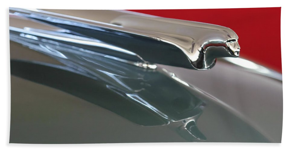 1948 Cadillac Series 62 Convertible Beach Towel featuring the photograph 1948 Cadillac Series 62 Hood Ornament by Jill Reger