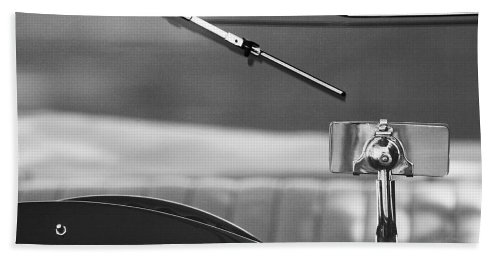 Transportation Car Detail Beach Towel featuring the photograph 1948 Mg Tc Rear View Mirror Black And White by Jill Reger