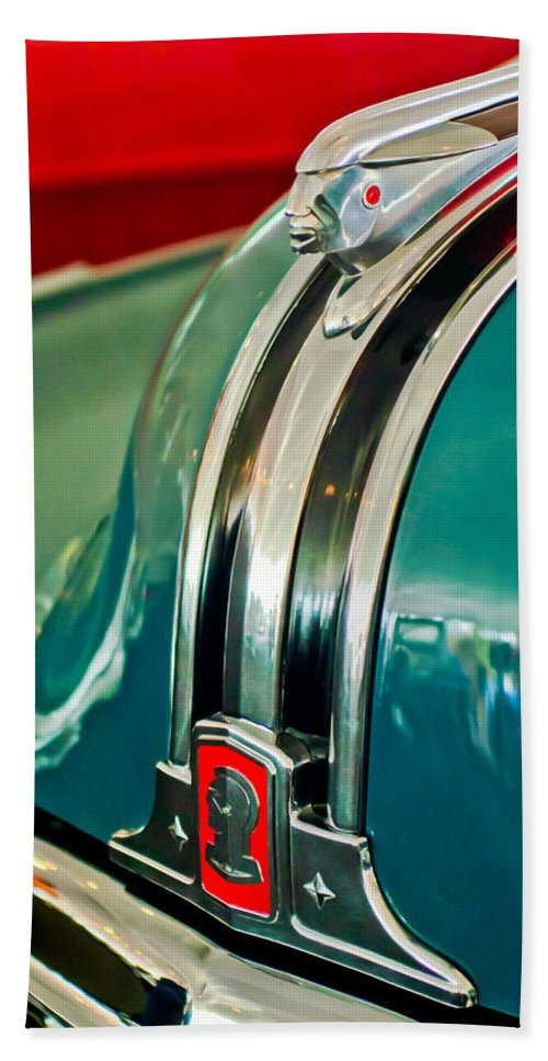 1948 Pontiac Hood Ornament Beach Towel featuring the photograph 1948 Pontiac Streamliner Woody Wagon Hood Ornament by Jill Reger
