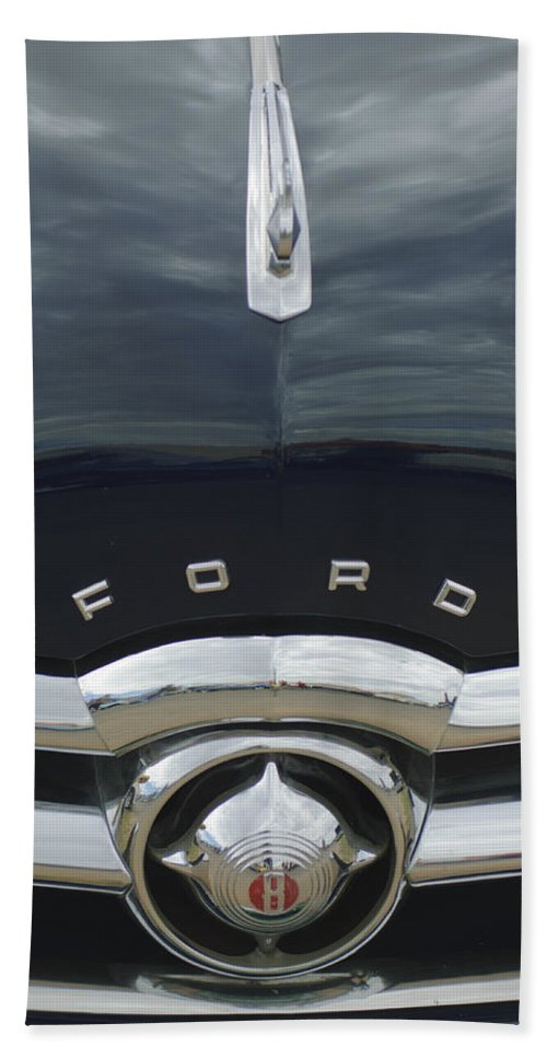 1949 Ford Beach Towel featuring the photograph 1949 Ford Hood Ornament 4 by Jill Reger