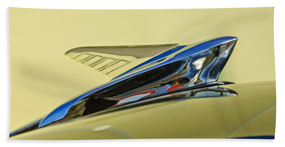 1951 Ford Beach Towel featuring the photograph 1951 Ford Hood Ornament 2 by Jill Reger
