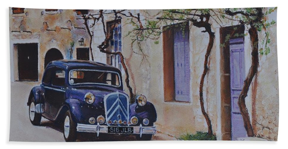 Classic Cars Beach Towel featuring the pastel 1951's Citroen by Iliyan Bozhanov