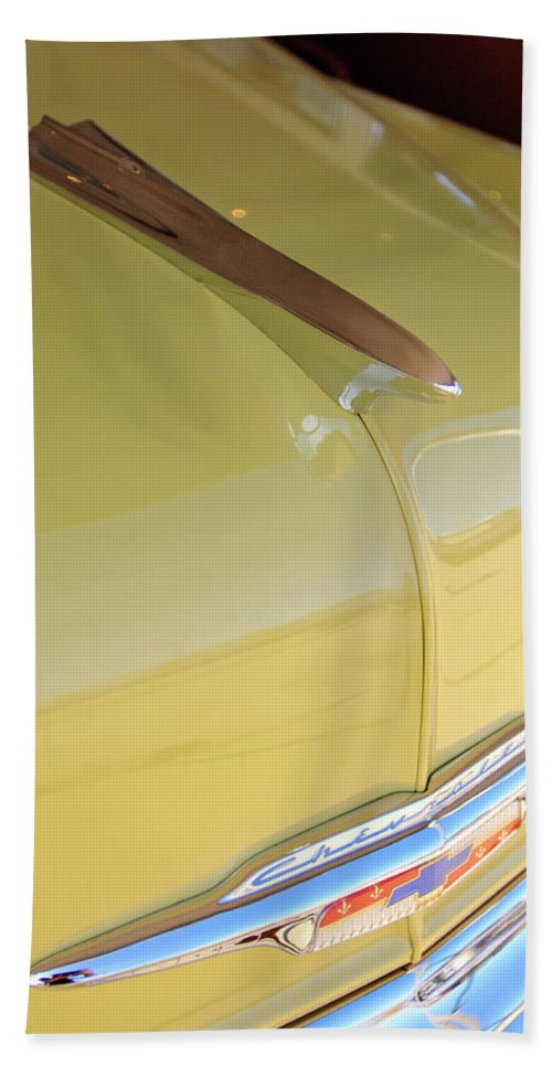 1953 Chevrolet Bel Air Beach Towel featuring the photograph 1953 Chevrolet Bel Air Hood Ornament by Jill Reger