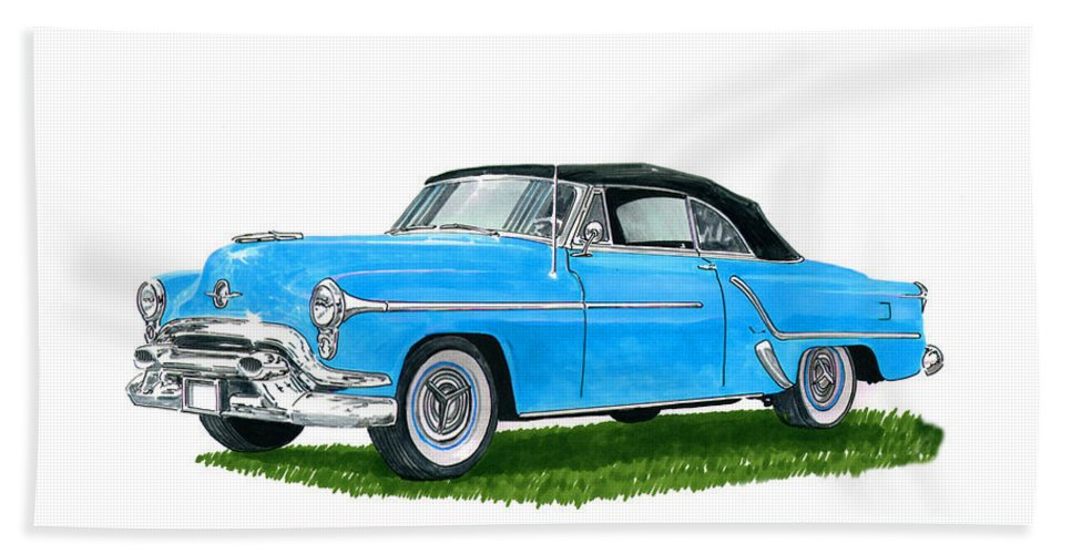 See This Artwork Of A 1953 Olds 98 Convertible By Jack Pumphrey At The 2017 Oldsmobile National Meets In Albuquerque Beach Towel featuring the painting Oldsmobile 98 Convert by Jack Pumphrey