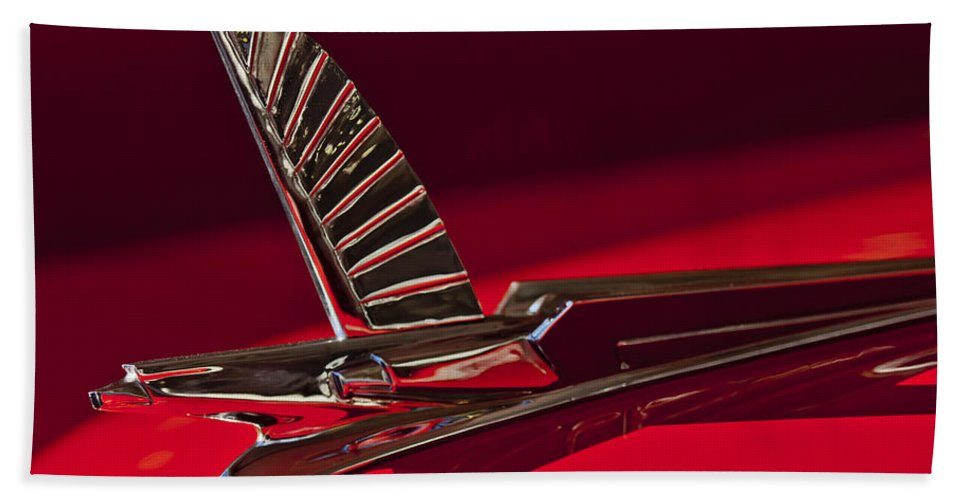 1954 Ford Crestline Sunliner Beach Towel featuring the photograph 1954 Ford Cresline Sunliner Hood Ornament by Jill Reger