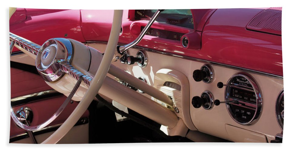 Car Beach Towel featuring the photograph 1955 Ford Crown Victoria Interior by Jill Reger