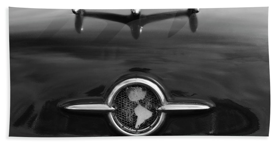 1955 Oldsmobile Holiday 88 Beach Towel featuring the photograph 1955 Oldsmobile Holiday 88 Hood Ornament 2 by Jill Reger