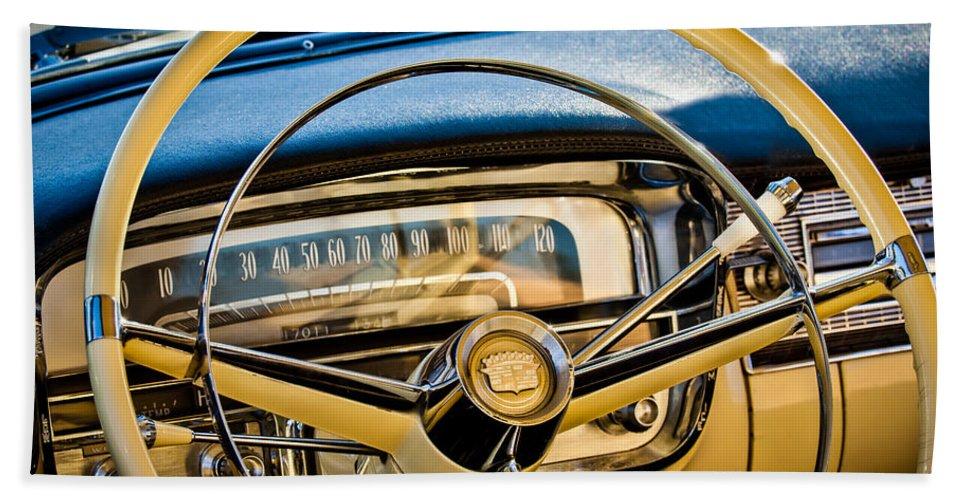 1956 Cadillac Steering Wheel Beach Towel featuring the photograph 1956 Cadillac Steering Wheel by Jill Reger