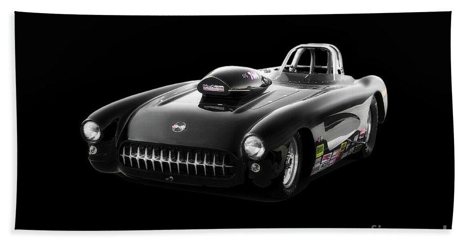 Auto Beach Towel featuring the photograph 1957 Corvette Drag Car by Dave Koontz