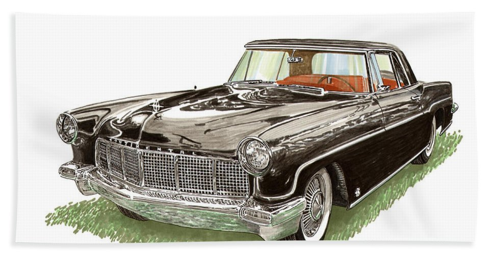 Famed Prints Of Beautiful Lincoln Continental Mark Ii. Framed Prints Of Deep Black Lincoln Continentals. Luxury Lincoln Continental Mk Ii Prints And Note Cards. Canvas Prints Of Luxury Lincoln Continental Mk Ii Automobiles. Beach Towel featuring the painting 1957 Lincoln Continental Mk II by Jack Pumphrey