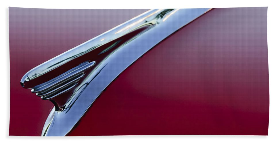 1957 Oldsmobile Beach Towel featuring the photograph 1957 Oldsmobile Hood Ornament 2 by Jill Reger