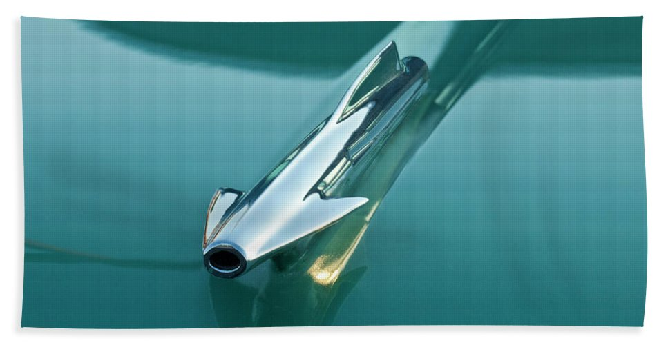 1958 Oldsmobile Beach Towel featuring the photograph 1958 Oldsmobile 98 Hood Ornament by Jill Reger