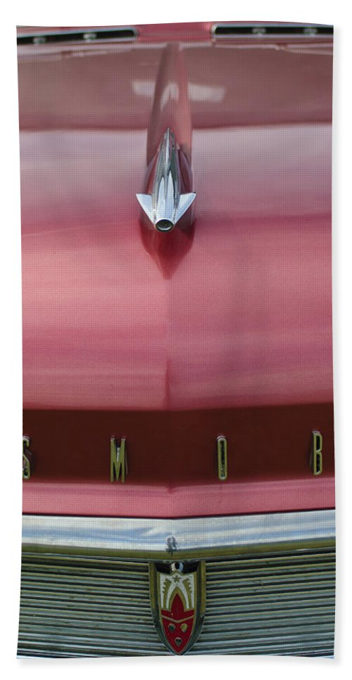 1958 Oldsmobile S-88 Beach Towel featuring the photograph 1958 Oldsmobile S-88 Hood Ornament 2 by Jill Reger