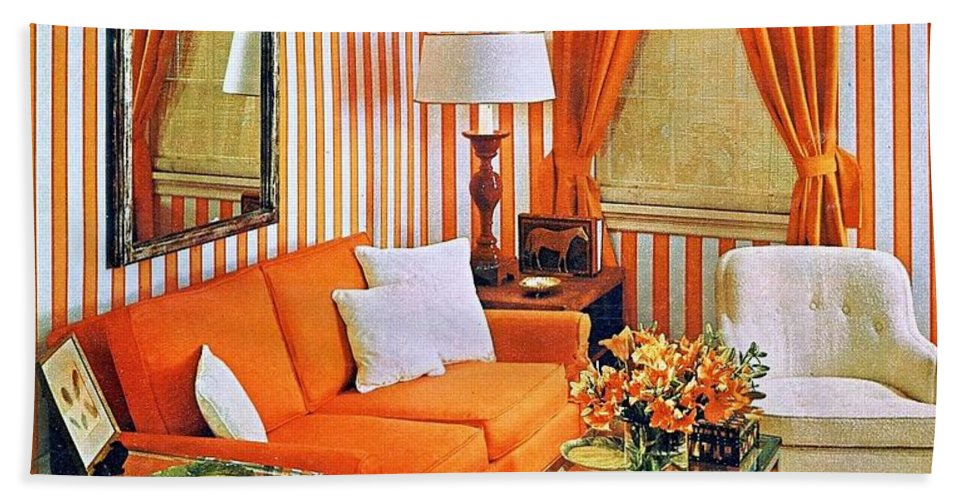 1960 70 Stylish Beach Towel featuring the photograph 1960 70 Stylish Living Room Advertisement Orange And Stripes Groovy Baby by R Muirhead Art