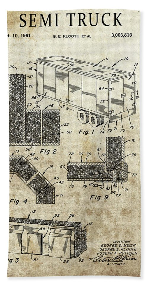 Vintage Semi Trailer Truck Patent Beach Towel featuring the drawing 1961 Semi Truck Patent by Dan Sproul
