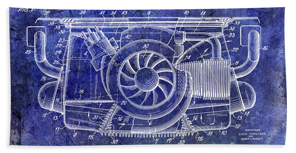 Porsche Patent Beach Towel featuring the photograph 1962 Porsche Engine Patent Blue by Jon Neidert
