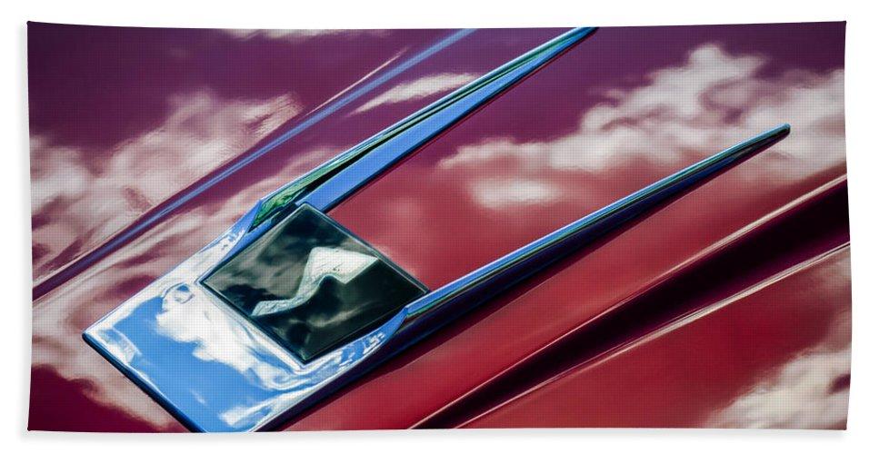 1963 Studebaker Avanti Beach Towel featuring the photograph 1963 Studebaker Avanti Hood Ornament 4 by Jill Reger